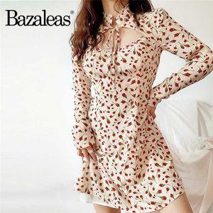 Bazaleas Vintage Küçük Gül Baskı Krem vestido Fransa Uzun kollu yaz kadın elbiseleri
