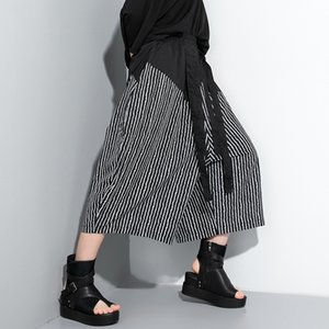 Womens Paper Bag Waist Cropped Pants Casual Wide Leg with Pockets Spliced Striped Casual Wide Leg Pants Leisure Streetwear S185