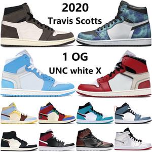 مع مربع 1 العليا OG Jumpman أحذية كرة السلة 1S الأبيض X UNC مسحوق أزرق ترافيس سكوتس شيكاغو التعادل صبغ الرجال النساء أحذية رياضية المدربين