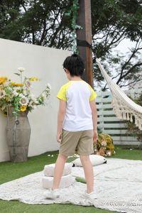 A3 Children's raglan short-sleeved advertising shirt T-shirt big girl round neck girl