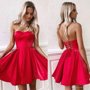 Cheap Simple Red Strapless Short Homecoming Dresses Open Back Party Cocktail Gown Above Knee Length Short Prom Dress Evening Cocktail Wear