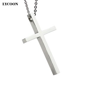LYCOON Free shipping fashion cool rock metal stainless steel smooth big Cross pendant necklaces for women or men never change color or fade