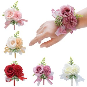 Wedding Party Corsages Wrist Flower Silk+Plastic Solid Color Roose Bracelets Brooch Fashion Sweet Bride Bridegroom Accessories