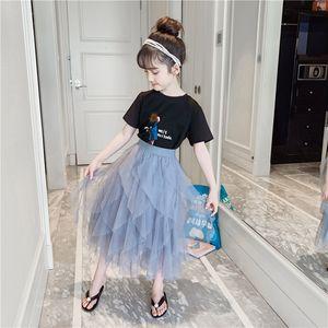 Kızlar Suit Etek Yaz Yeni Koreli Çocuk Giyim Moda Ağ Kırmızı Atmosfer Big Çocuk Yaz İki adet