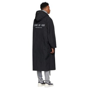 Escudo 20FW FEEAR OFF BUENO 6 de cremallera impermeable largo del foso Calle retro chaqueta para hombre Pares de la manera Mujeres HFXHJK106 Escudo