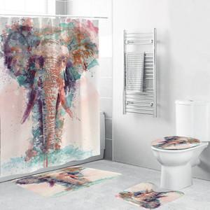 Вода цвет слон душевая занавеска полиэстер 4-х частей набор ванной комнаты ковровое покрытие туалет крышка баня коврик для домашнего декора T200711