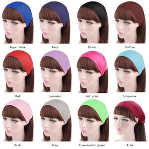 Fashion Solid Color Yoga Headbands Elastic Wide Hair Bands Head Turban Bandanas For Women Hair Accessories