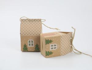 caixa de doces de presente caixa de doces de casamento de papel kraft New Christmas House Festival