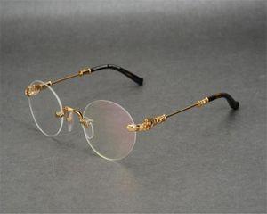 Unisex Vintage Business Design Oval Rimless Alaşım Optik Gözlük Çerçevesi Gümüş Altın Marka Miyop Hipermetrop Gözlüğü Gözlük