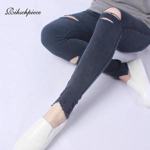 Rihschpiece Spring Plus Size 5XL Leggings Ripped femmes taille haute en denim Pantalons Slim Punk jeggings Pocket Casual Pantalons RZF1726