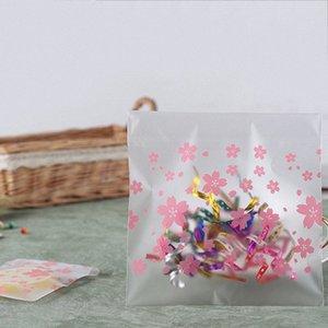 Матовый полупрозрачный Cookie конфеты сумки Бисквит сумка Главная Свадеб Supplies самоклеющиеся Cherry Pattern Пластиковый мешок славный подарок KWxP #