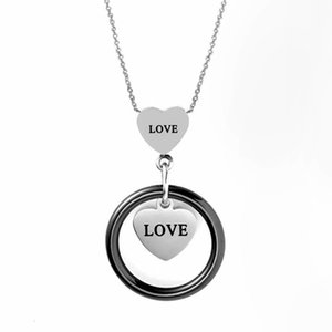Heart Necklace Stainless Steel And Ceramics Pendant Circle Black Pink White Ceramic Jewelry For Women Love Letter New Arrival