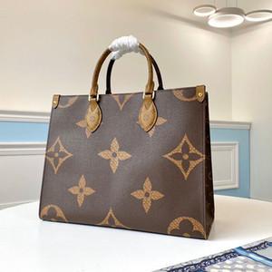 Sac de bonbons de qualité supérieure 5A onthego mm en cuir véritable sacs à provisions femmes sacs à main épaule sacs mortuaires croix sac porte-dame avec boîte B069