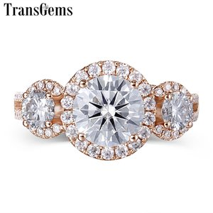 Transgems Halo Three Stone Moissanite Engagement Ring 18K Rose Gold 3 Stone Type Halo Ring for Women Fine Jewelry Wedding Gift Y200620