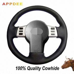 Negro de piel cubierta de la rueda genuino cosido a mano de FX de Infiniti FX35 FX45 2003-2007 350Z 2003-2006 VDM2 #