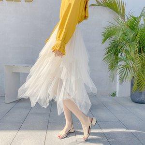 Puffy Mesh Shyloli 2020 nuova estate di modo pannello esterno di Tulle Boemia Donne vita alta asimmetrico garza principessa Skirt Elegante