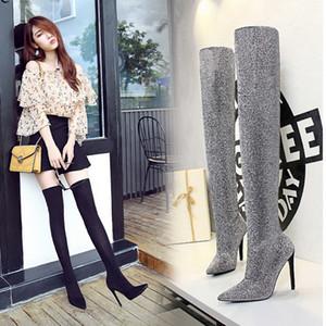 Inverno Ao longo do joelho mulheres botas elásticas alta deslizamento salto em sapatas de dedo do pé Pointed Mulher botas longas