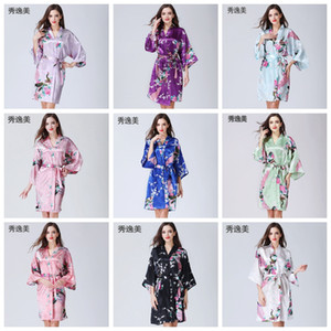14 Colors Home Clothing Sexy Women's Kimono Robe Pajamas Printing Flower V-neck Loose Sleeve Kimono Sleepwear With Belt DH0669 T03