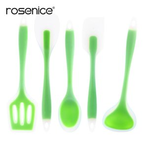 5pcs set Non-stick Food Grade Silicone Kitchen Utensils Set Cooking Tools Accessories including Spoon Turner Spatula Soup Ladle T200323