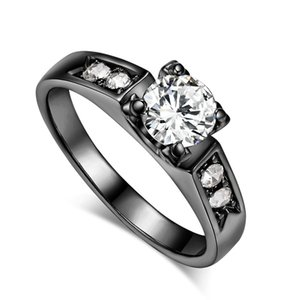 Zircon Cubic Zirconia 4 Claw Wedding Finger Ring For Womens Rose Gold Color Crystal Fashion Jewelry