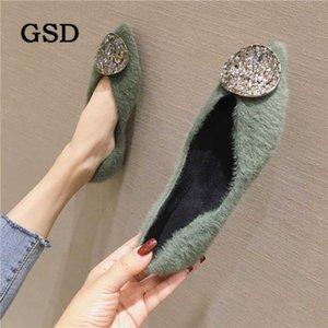 Botlar Gelenler Kürk Kış Düz Ayakkabı Kadın Sıcak Kar Bayanlar Ayak Bileği Moda Kristal Moccasins Ayakkabı