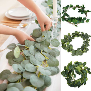 Artificial Green Eucalyptus Garland Leaves Vine Fake Vines Rattan Artificial Plants Ivy Wreath Wall Decor Wedding Decor