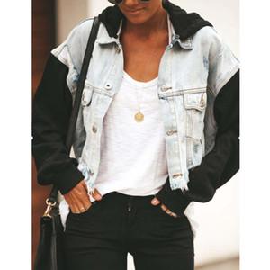 Womens Jackets and Coats Long Sleeve Jeans Jacket Women Pocket Stretch Short Denim Jacket Coat Hole Ripped Denim
