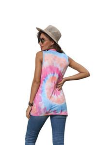 tapas del chaleco de la ropa del verano de la moda sin mangas T-Pullover cuello redondo tie-dye camisa de las mujeres anudadas impresos camiseta del chaleco CZ716 3color VENTA
