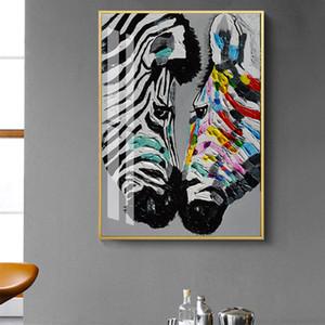 Moderne et coloré Zebra Animaux Abstrait Imprimé Peinture Toile Affiche et impressions Wall Art Photos pour Salon Home Decor
