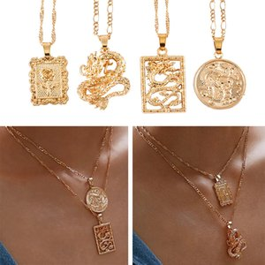Collar largo moneda de oro de la aleación MAA-OE Bohemia Retrato collares pendientes para las mujeres Vintage Rose Moda 2019 regalos de la joyería