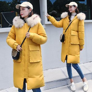New winter woman jacket mid-length 2020 women fashion slim padded down cotton coat big fur collar slim padded women coat