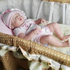 55cm Yumuşak Tam Vücut Silikon Reborn Bebekler Kız Bebek 22inch Lifelike BeBe Reborn Bebekler Oyuncak Menina BONECAS Brinquedos ile Basket T200712