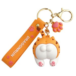 Commerci all'ingrosso creativo sveglio di disegno a catena Cat Glutei chiave del fumetto di goccia di colla chiave Circle Schoolbag Doll Ciondolo
