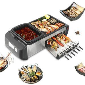 냄비 BBQ 한 냄비 홈 한국 스타일의 비등 바비큐 기계 다기능 전기 베이킹 팬 바키 튀김 분리 할 수있다
