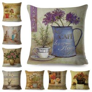 Retro Flowers Bonsai Cushion Cover for Sofa Home Car Decor Hand Painted Plant Floral Pillow Case Linen Throw Pillowcase 45x45cm