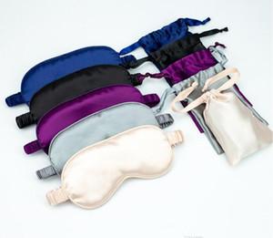 NEW Faux Silk Sleeping Auge mit Tasche Maske tragbare Reise-Schlaf-Masken-Abdeckung Eyepatch Blindfold eyeshade Erholung Relax-Augen-Flecken Shade Light Pad