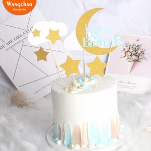 1 세트 반짝이 종이 꿈꾸는 작은 별 문 클라우드 케이크 토퍼 어린이 생일 DIY 케이크 장식 베이비 샤워 aUWW 번호 공급