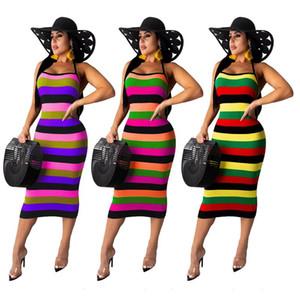 ZKYZWX Sexy Tie Dye Verão Mulheres vestido sem mangas Strap Backless Night Club Magro partido atadura BODYCON maxi vestidos