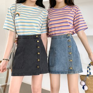 High-waisted female 2020 new Korean style slim One-Step denim A- LINE denim fashion one-step hip-covered skirt a-character skirt