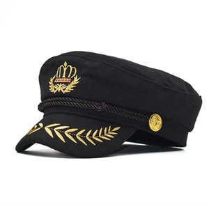 BsA0J Cotton Crown navy gold thread embroidered men's and women's sailor dance performance five-pointed star cap flat cap Dancing flat hat t
