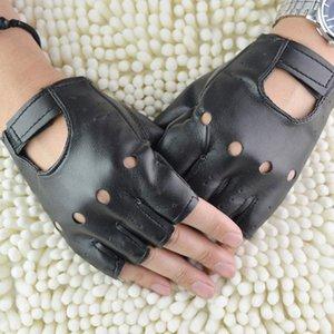 النساء الرجال قفازات غير السائدة الشرير نصف اصبع قفازات جلدية PU في الهواء الطلق ركوب الدراجات أصابع القيادة الشرير قفازات # 20