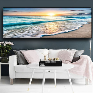 Pittura naturale Gold Beach Sunset Seascape Oil Nordic Landscape Poster Stampe di arte della parete per il salone scandinavo Home Decor