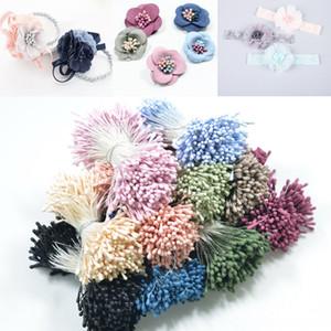 DIY hair manual Diy accessories ribbon simulation round head matte stamen Flower Heart ribbon flower material accessories 1 tie