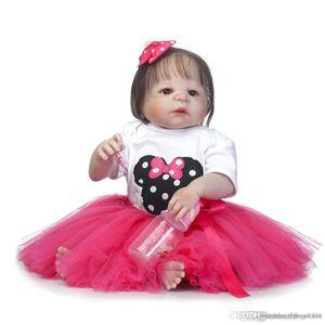 htt Wholesale- 23'' bebe girl reborn bonecas full body soft silicone reborn baby dolls blue brown green eyes option bonecas reborn
