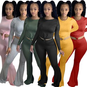 le donne a due pezzi rifornisce colore solido stretto manica lunga pantaloni tromba 2 pezzi set tuta più le donne vestiti H88