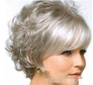 الفضة النساء YU YING لمة الأزياء سحر جديد شورت رمادي مجعد الشعر الطبيعي الباروكات الشحن المجاني