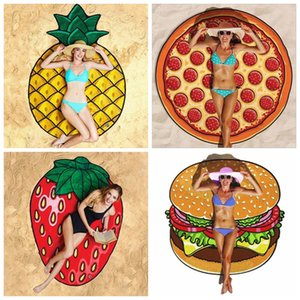 Printed Beach Towel Polyester Round Fruit Hamburger Sunscreen Shawl Watermelon Donut Bathing Towels Summer Beach Towel IIA244