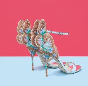 Sıcak Satış-Sophia kadınlar için Webster Yaz Nakış Sandalet İnce yüksek topuk Lady Gladyatörler Düğün Gelin pompaları Print seksi