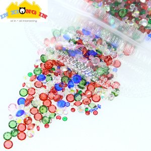 10g Christmas Crystal for DIY Jewelry Decor Green Red Clear Mix Size Rhinestone Nail Art Craft Stuff Xmas Resin Charms Making