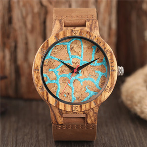 Unique Stripes Lines Dial Wooden Watch Mens Bamboo Quartz Analog Display Clock Brown Leather Bracelet Strap Reloj de madera